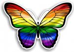 Beautiful Butterfly With Gay Pride LGBT Rainbow Flag Vinyl Car Sticker 130x90mm